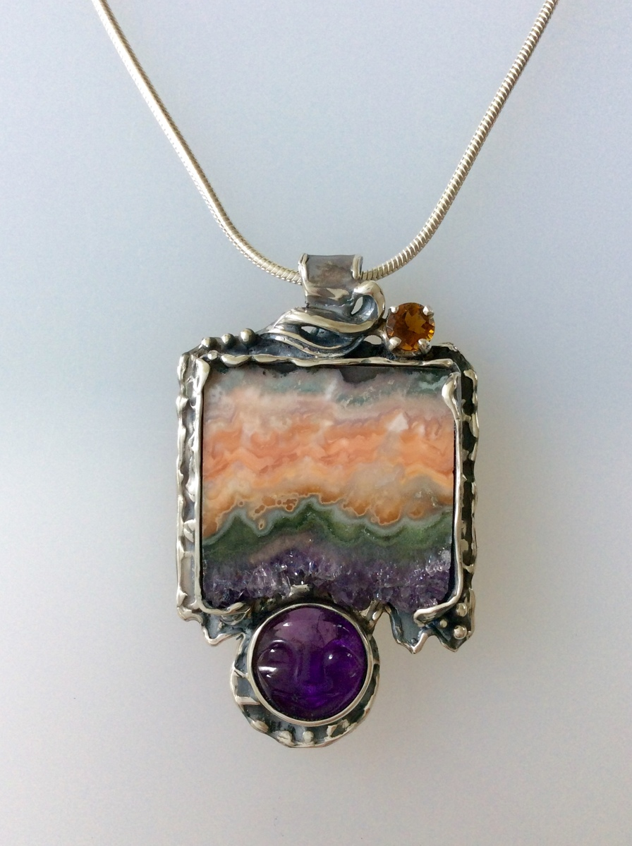 Sunset/Moonrise - Amethyst Crystal Stalagtite with Amethyst Moonface (large view)