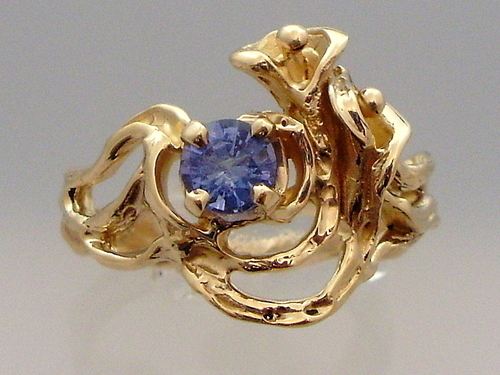 14K Gold Calla Lily and Tanzanite Ring by Terri Reinke  /  TTR Designs