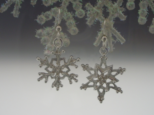 Asymmetrical Silver Snowflake Earrings