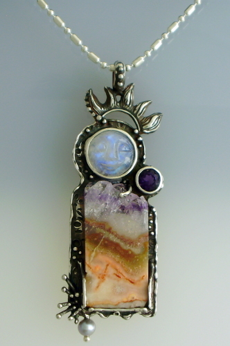 Moonstone Carved Face and Amethyst Talisman Pendant