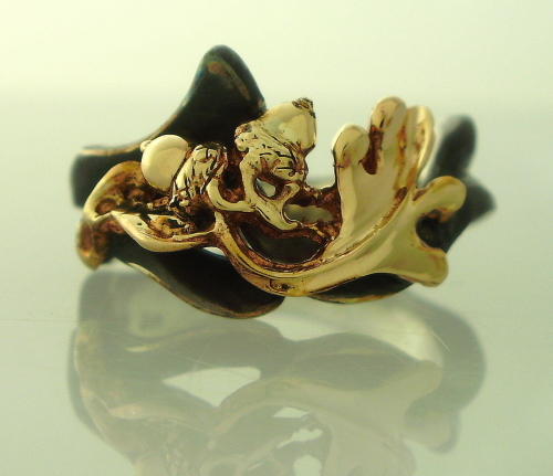 14K Gold and Sterling Silver 2-Tone Oak Leaf and Acorn Ring