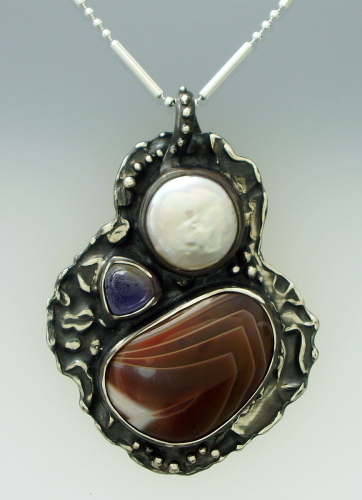 Lake Superior Agate Pendant with Coin Pearl and Iolite
