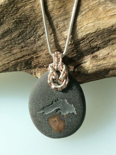 Basalt with Etched Lake Superior Pendant