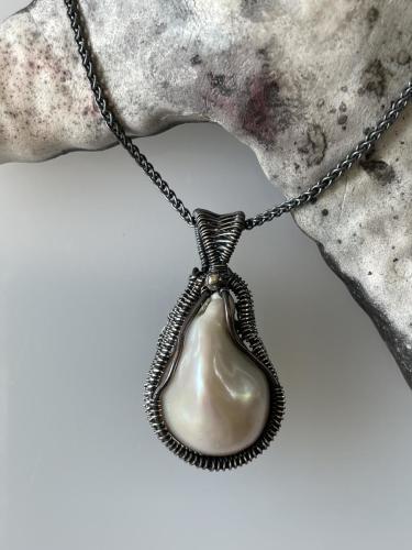 Teardrop Freshwater Pearl Pendant in Copper and Fine Silver