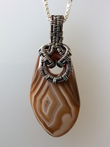 Freeform Polished Lake Superior Agate Pendant with Wire- Woven Bail