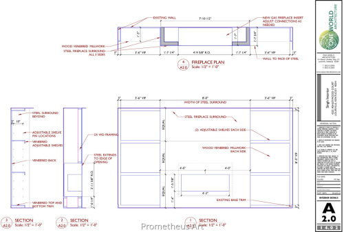 Custom Metal Fireplace Surround CAD Drawing