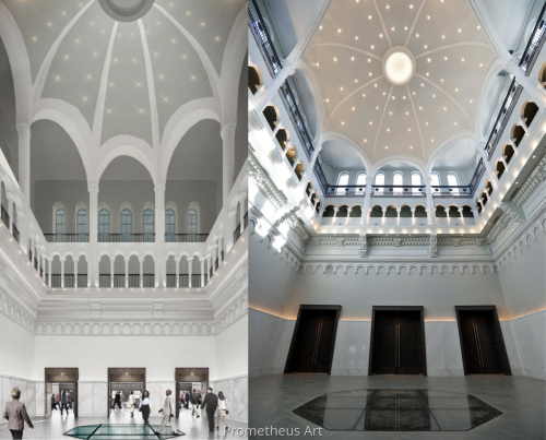 Side by Side of Rendering & Completed Rotunda, Historic Fayette County Courthouse