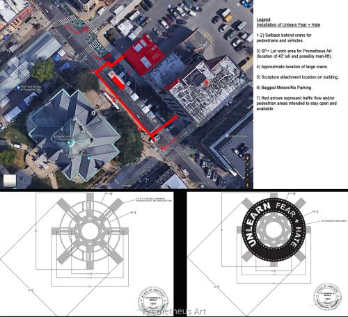 Unlearn Fear + Hate dimensional Metal Sculpture Overlay/Engineering