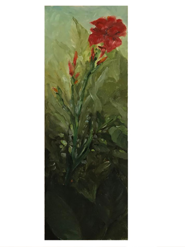 Red Canna on Wood Panel