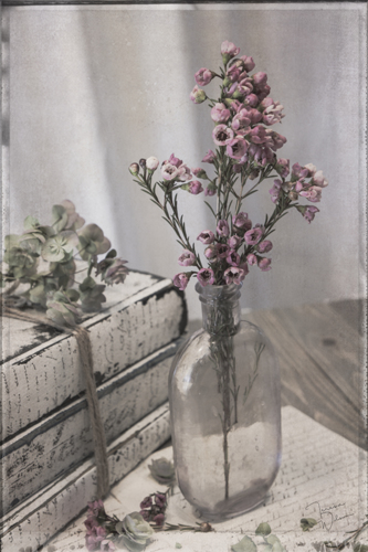 Lavender Bottle with Waxflowers