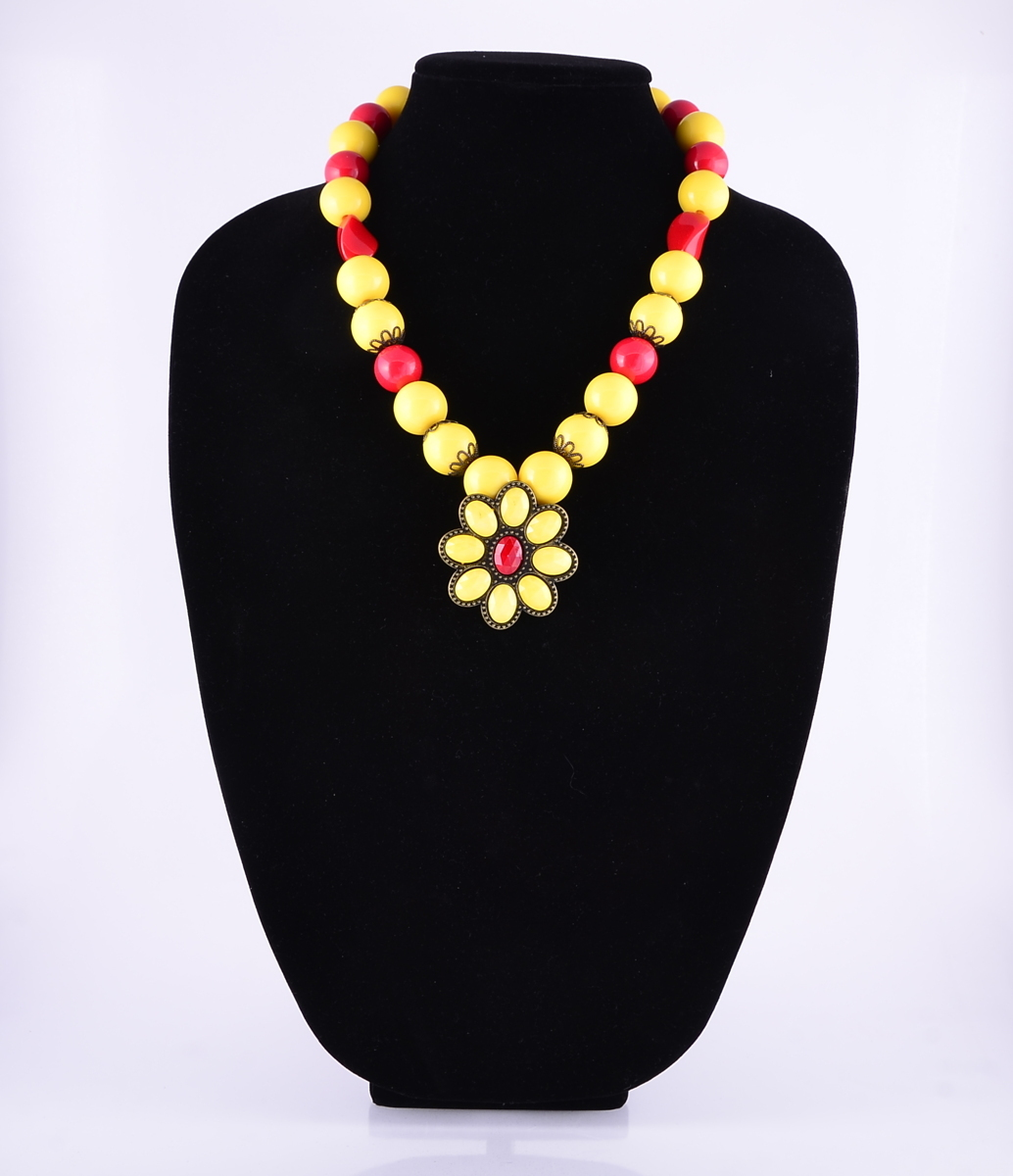 """Bold Red and Yellow Necklace with 2"""" Pendant (large view)"""