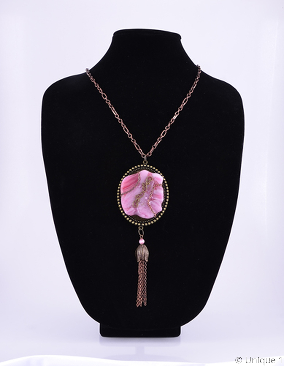 Pink Fused Glass & Antique Bronze Necklace (large view)