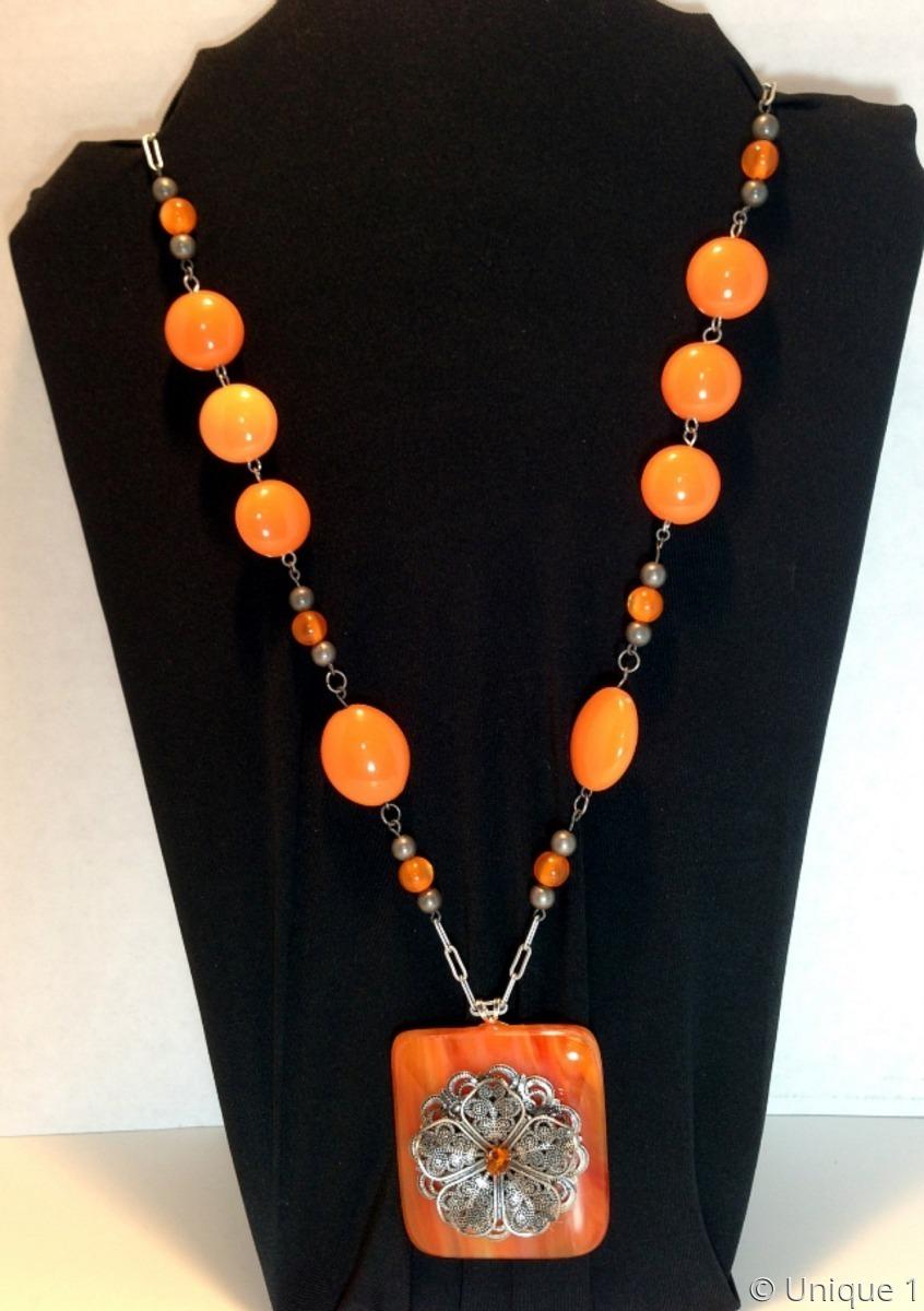 Orange & Pewter Necklace (large view)