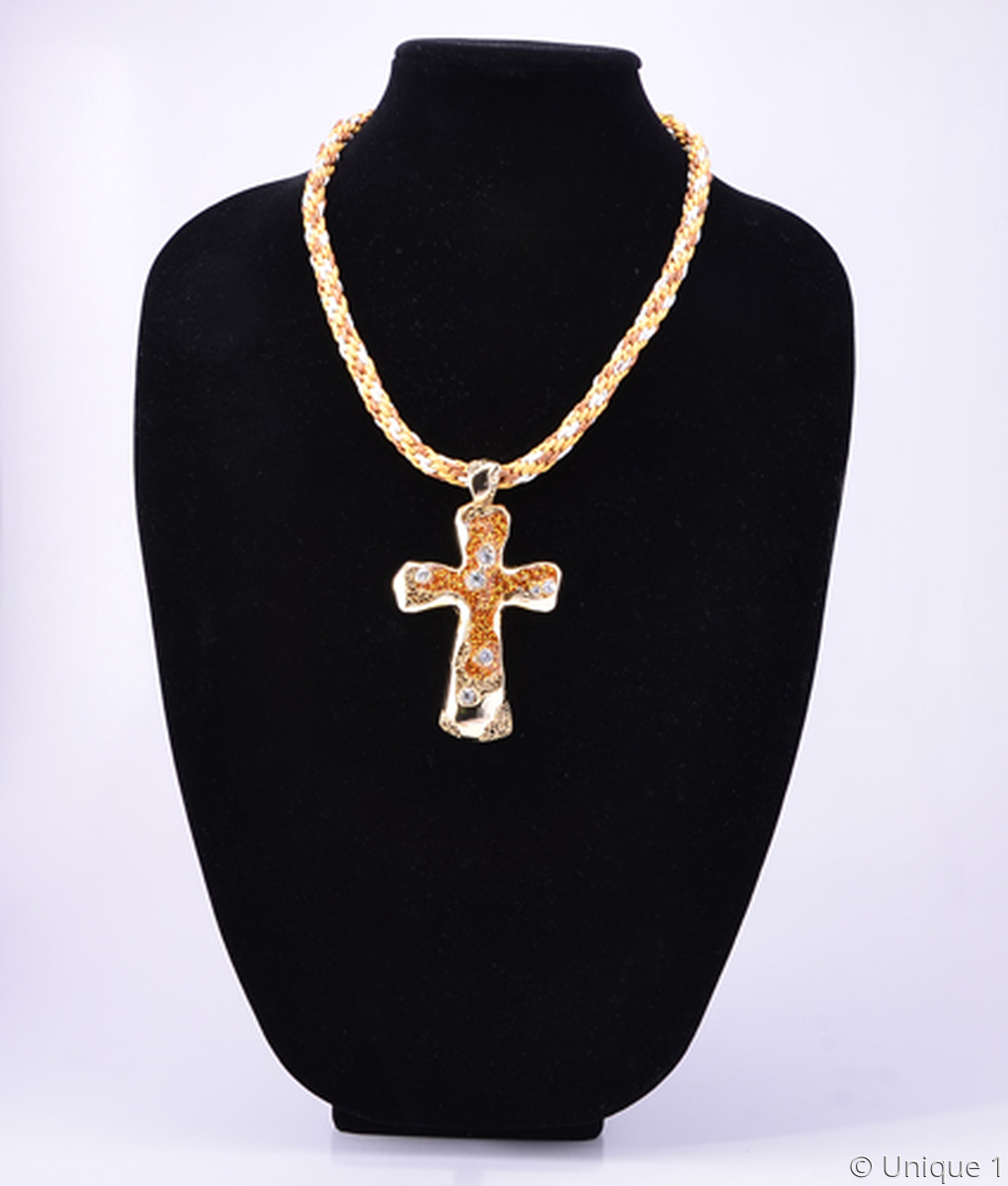 Golden Cross Necklace and Earrings (large view)