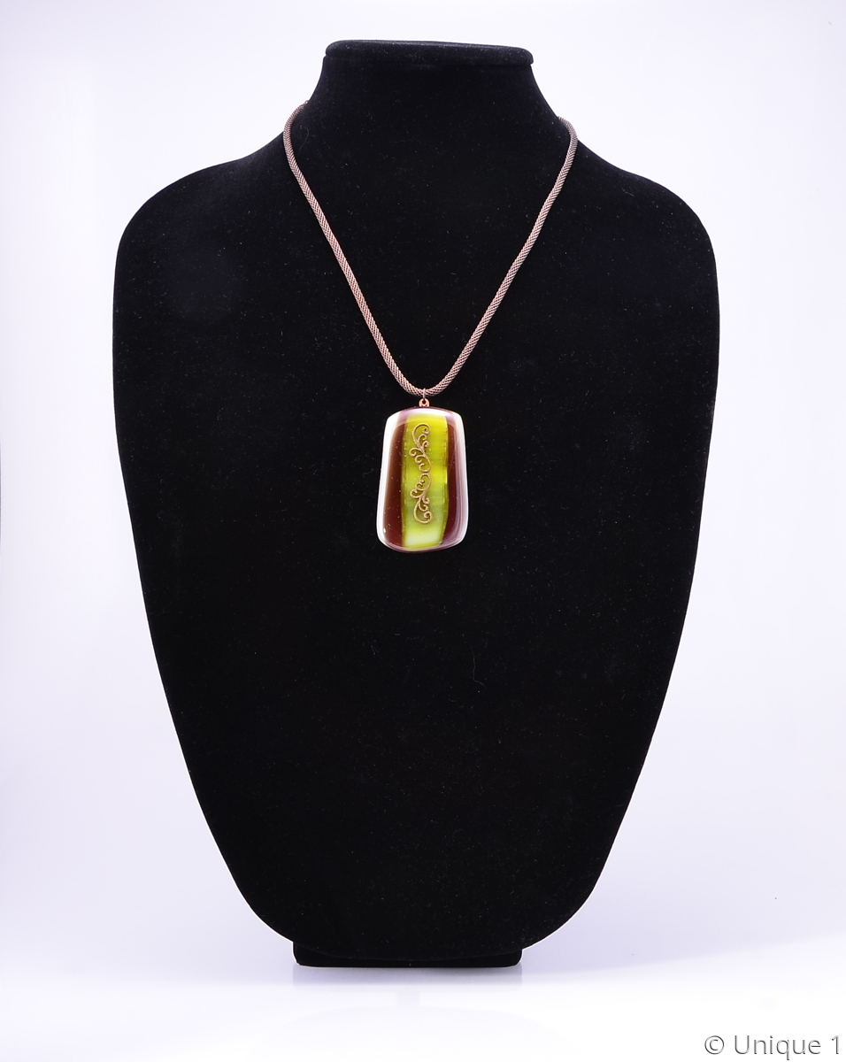Fused Glass Filigree Pendant (large view)