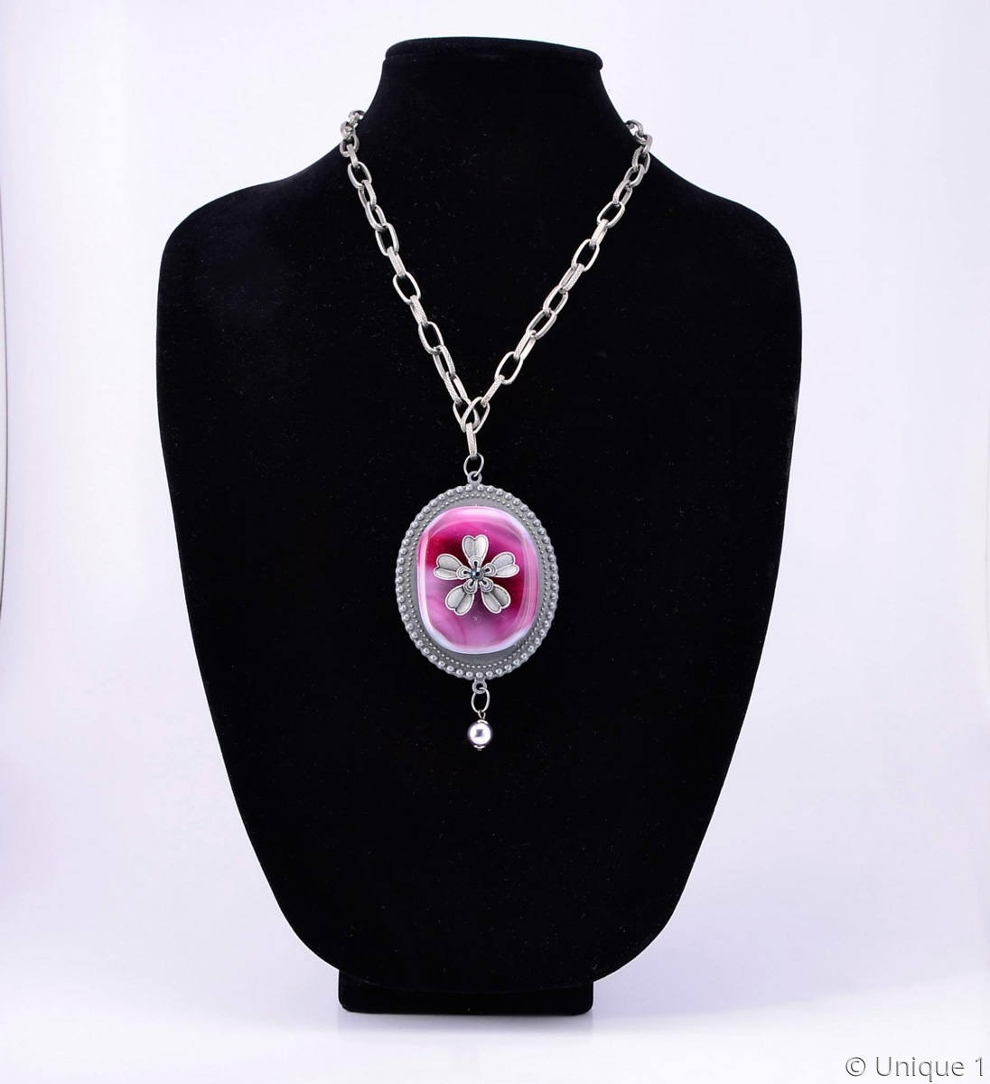 Pink & Pewter Necklace (large view)