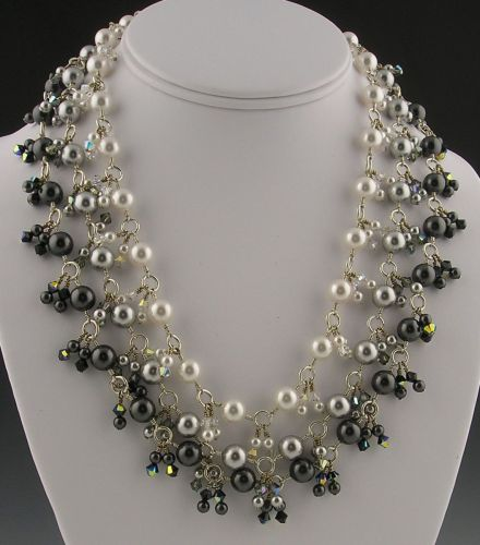 Midnight Moonlight Pearls Necklace & Earrings by Valerie Hildebrand
