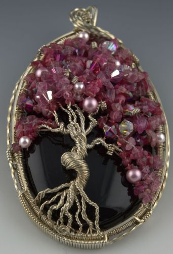 Midnight Cherry Blossoms Tree of Life by Valerie Hildebrand