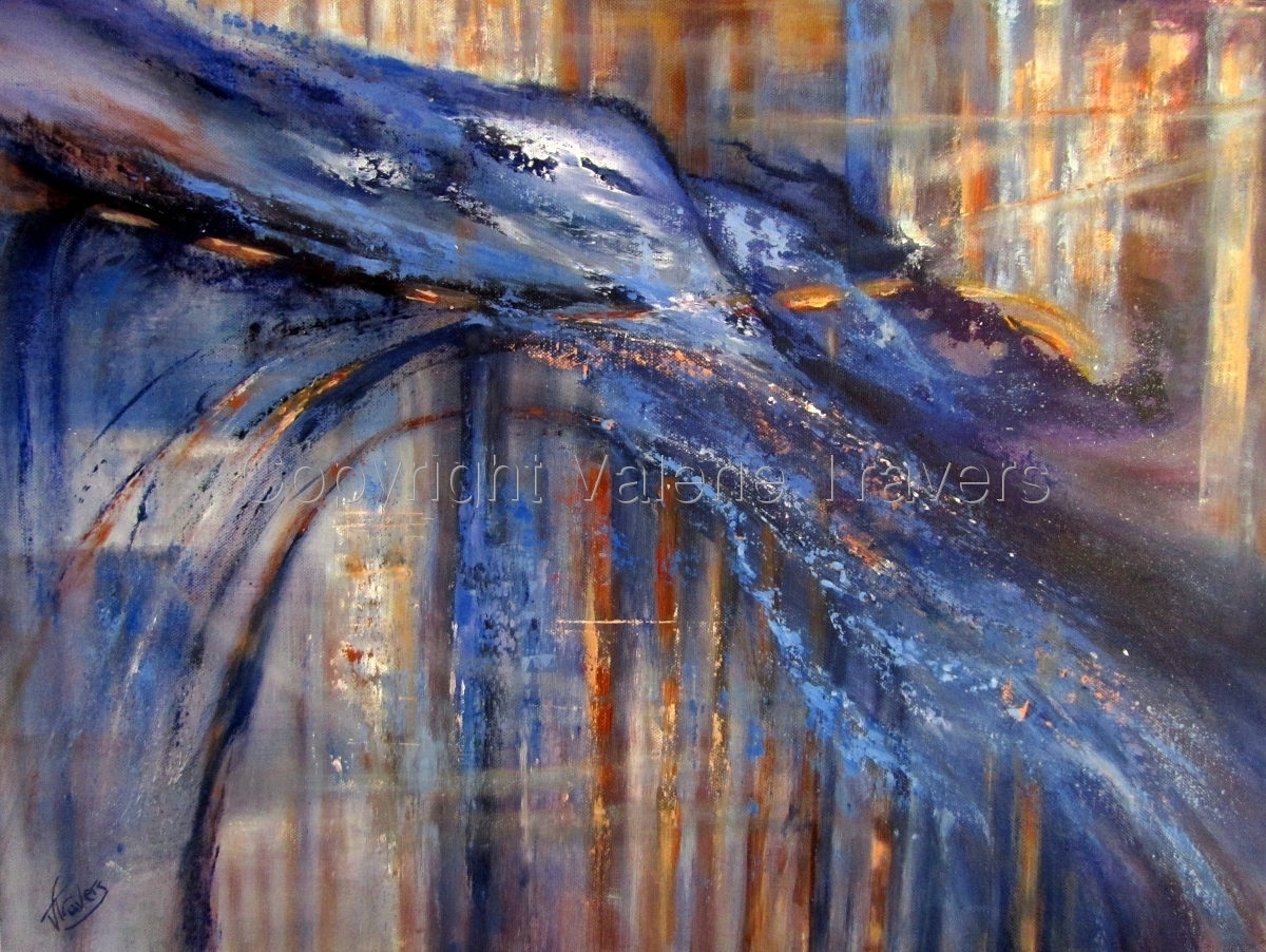 Valerie Travers, Guernsey artist, artist, abstract, acrylic, blues, 18 x 24 inches (large view)