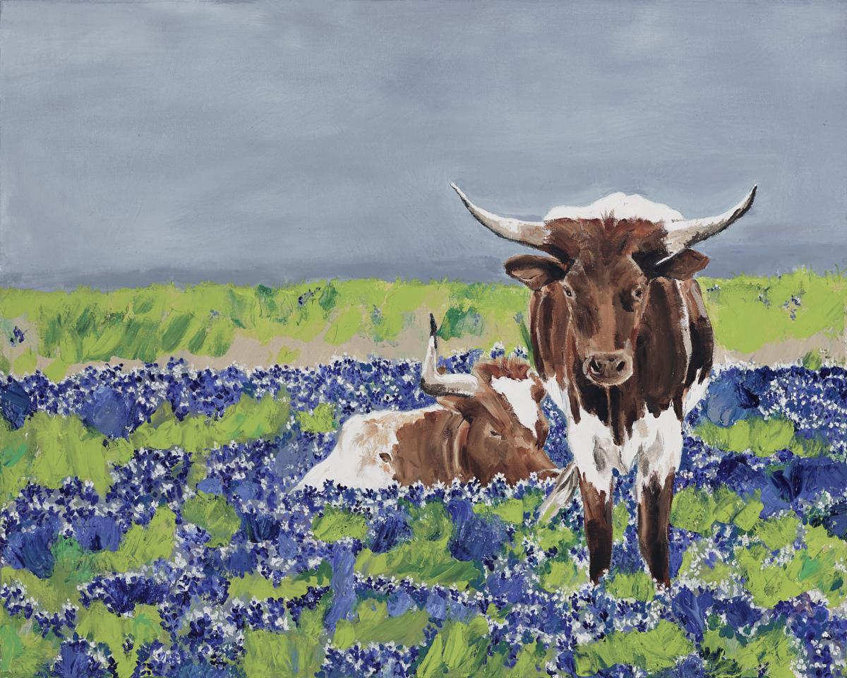 Longhorns & Bluebonnets (large view)