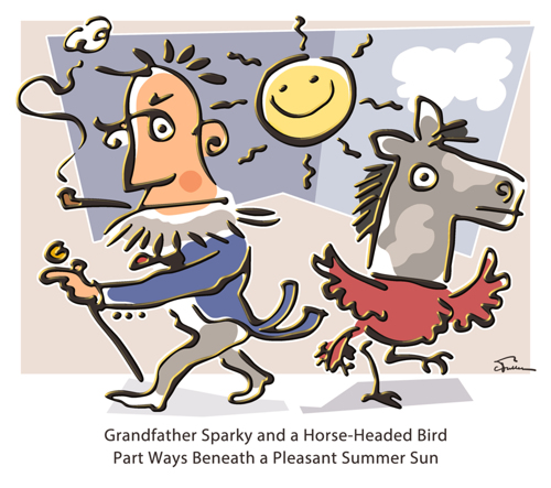 Grandfather Sparky and a Horse-Headed Bird