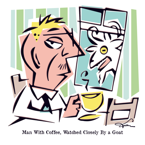 Man with Coffee, Watched Closely By a Goat