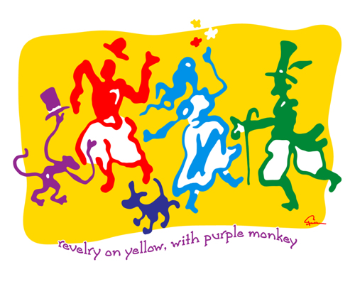 Revelry On Yellow, With Purple Monkey