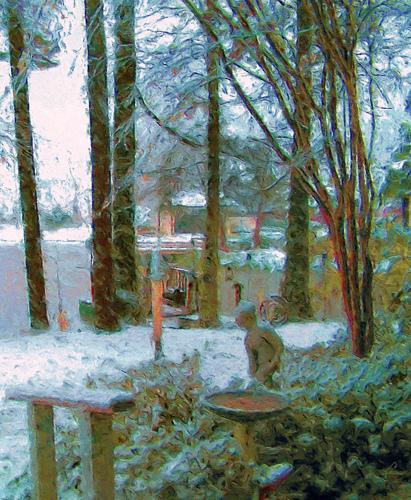 Snowfall Behind the Artist's Studio