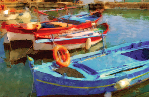 Three Boats In Red and Blue