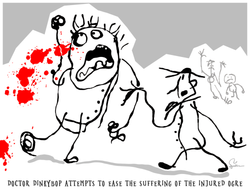 Doctor Dinkybop Attempts to Ease the Suffering of the Injured Ogre