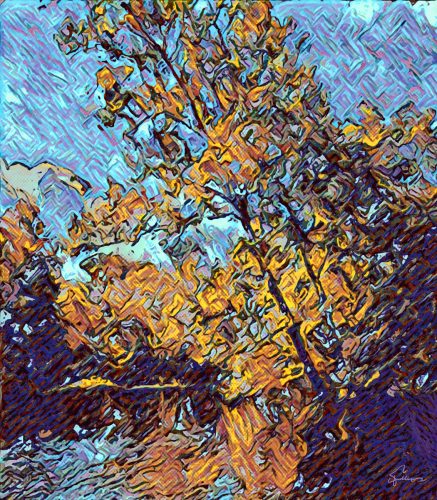 Yellow Tree On a Riverbank, style of Van Gogh