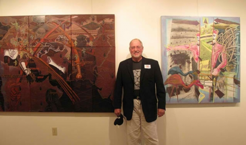Artist with his work at Gallery Sim
