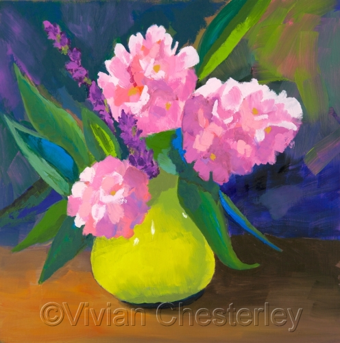 Flowers in a Green Vase by Vivian Chesterley