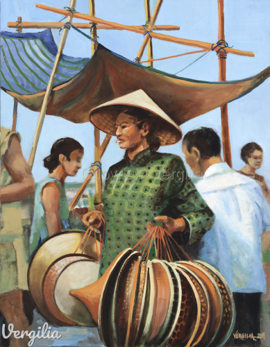 Hong Kong Hat Seller, Aberdeen Harbor