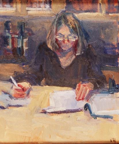 Woman writing (large view)