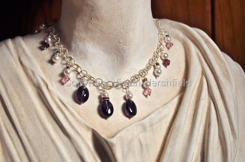 Sterling Silver Necklace, Amethyst and Swarovski pearls beads