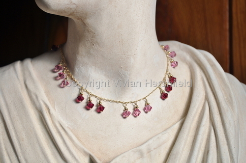 Pink and Siam Swarovski Crystal Necklace