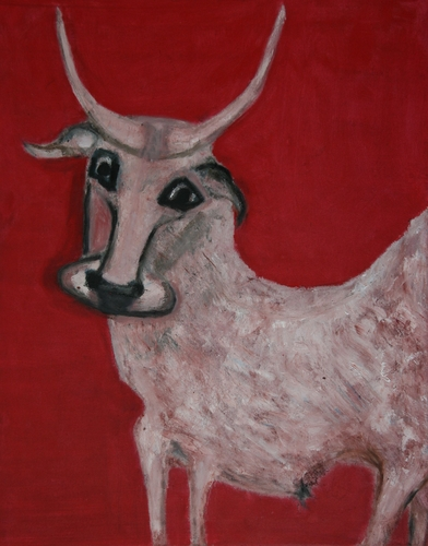 Ox Series - White Ox in front a Red Wall