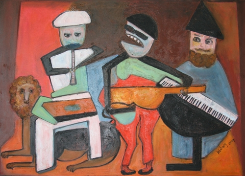 Musicians Series - After Picasso, Three Musicians