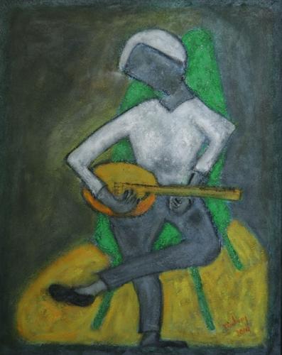 Musicians Series - Mandolinist in A Green Chair
