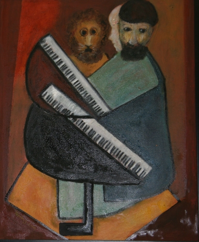 Two Pianists with the Lion