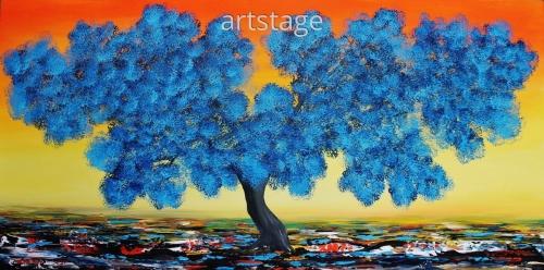 Blue Blooming Tree.
