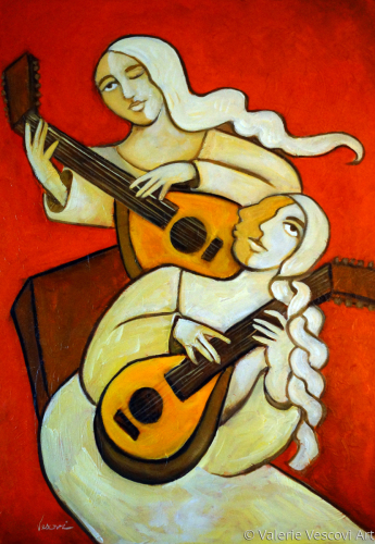 Lutes with a Red Background