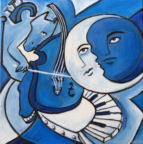 Homme dans la Lune Bleu