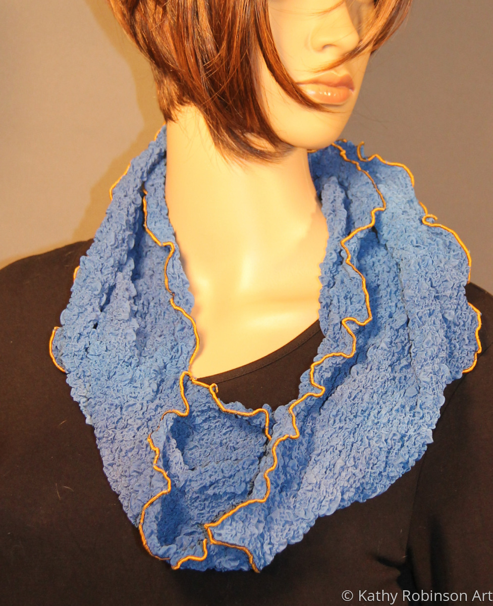 Blue bubble silk circle scarf (large view)