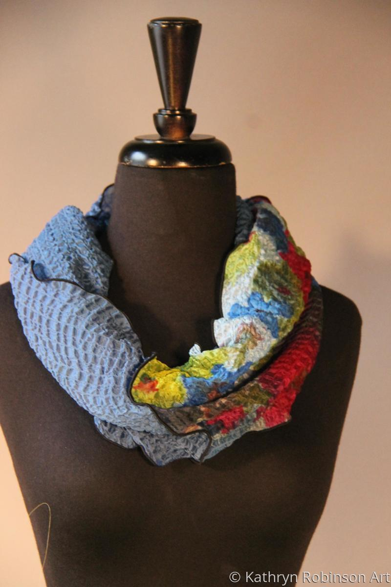 Bubble silk Infinity Scarf-Blue (large view)