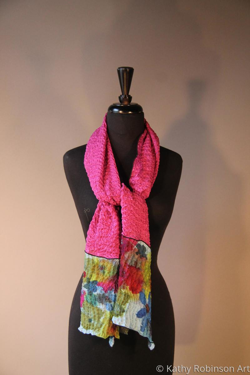 Fushia color bubble silk scarf (large view)