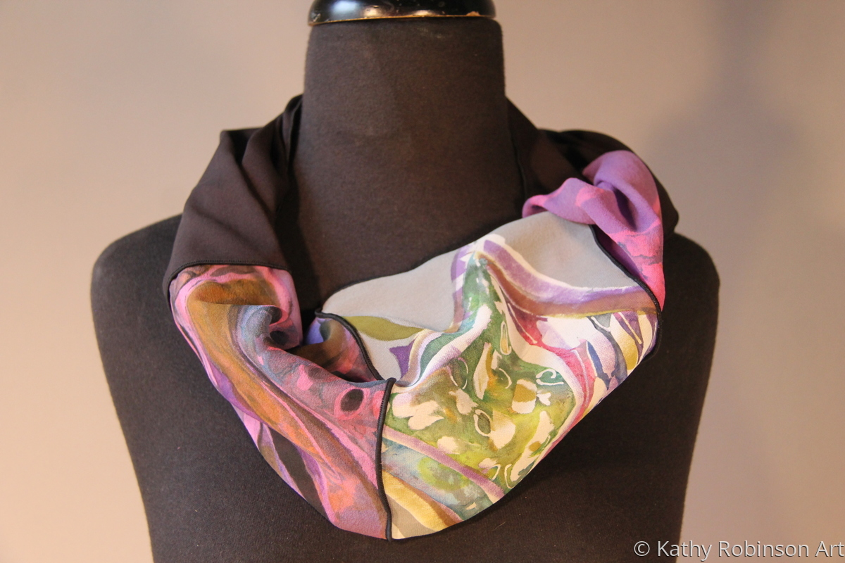 abstract black chiffon pieced infinity scarf (large view)