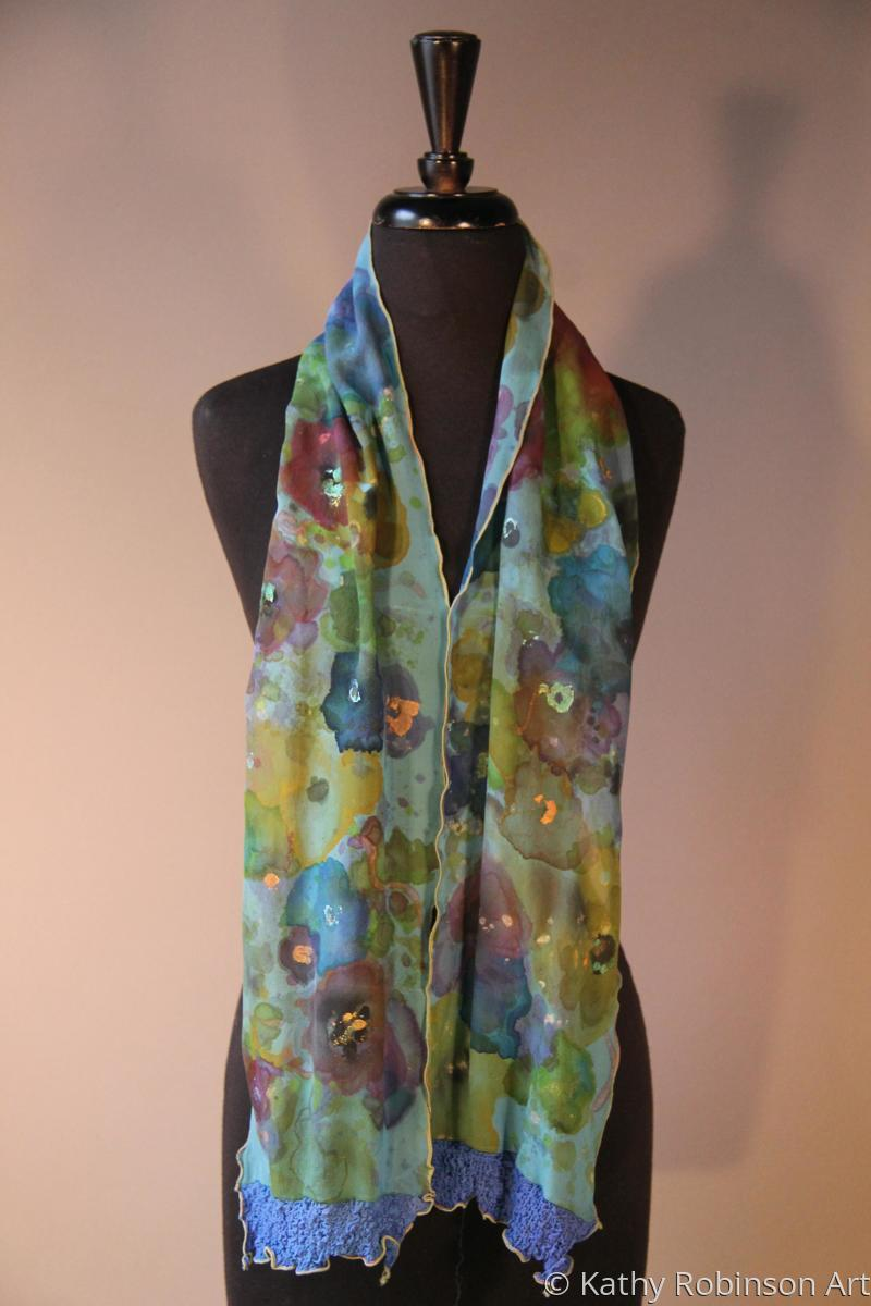 Floral chiffon scarf (large view)