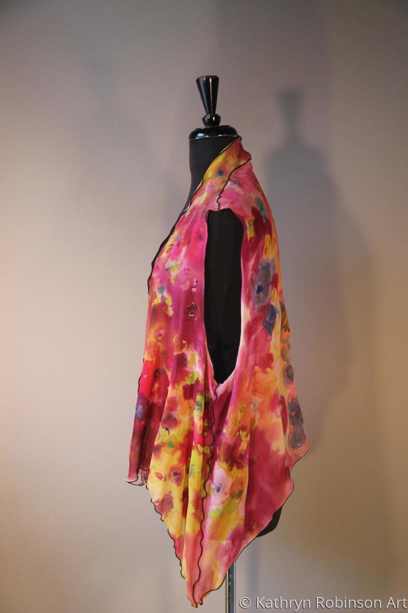 Floral silk chiffon vest (large view)